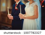 happy bride and stylish groom... | Shutterstock . vector #1007782327