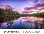 beautiful landscape with sunset ... | Shutterstock . vector #1007786434