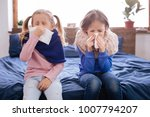 cold. sick little fair haired... | Shutterstock . vector #1007794207