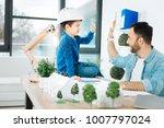 great job. cheerful little boy... | Shutterstock . vector #1007797024