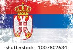 flag of serbia. wrinkled dirty... | Shutterstock . vector #1007802634