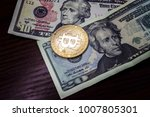 gold coin bitcoin next to the...   Shutterstock . vector #1007805301