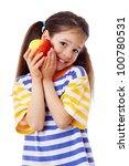 Happy Girl With Apple  Isolate...