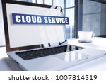 cloud service text on modern... | Shutterstock . vector #1007814319