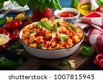 pasta with spicy tomato sauce ... | Shutterstock . vector #1007815945