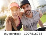 portrait of couple of joggers... | Shutterstock . vector #1007816785