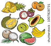 set collection colour doodle of ... | Shutterstock .eps vector #1007828731