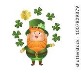 cute leprechaun in a green hat... | Shutterstock .eps vector #1007829379