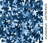 blue camouflage seamless pattern | Shutterstock .eps vector #1007829655
