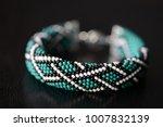 green bead crochet bracelet... | Shutterstock . vector #1007832139