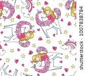 set of hand drawn seamless... | Shutterstock .eps vector #1007838784