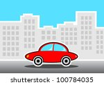 red car in city | Shutterstock .eps vector #100784035