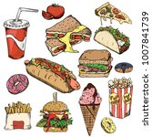 fast food background. snack... | Shutterstock .eps vector #1007841739