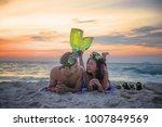 couple lover enjoy on the beach ... | Shutterstock . vector #1007849569
