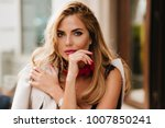 optimistic blonde woman with...   Shutterstock . vector #1007850241