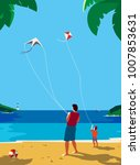 kiting on sea beach. leisure... | Shutterstock .eps vector #1007853631