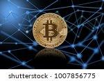 macro shot of golden bitcoin ...   Shutterstock . vector #1007856775