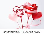 twirl red and pink heart ribbon ... | Shutterstock .eps vector #1007857609