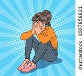 pop art upset young girl... | Shutterstock .eps vector #1007858821