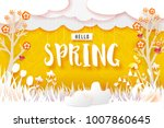 flowering meadow with trees.... | Shutterstock .eps vector #1007860645