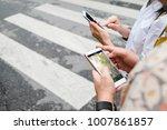 traveler use map on mobile... | Shutterstock . vector #1007861857