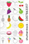 coloring book  page set. fruits ...   Shutterstock .eps vector #1007863357