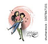 romantic lovers for valentine's ... | Shutterstock .eps vector #1007867101