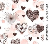 cute vector hearts seamless... | Shutterstock .eps vector #1007867185