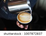 coffee latte art in coffee shop ... | Shutterstock . vector #1007872837
