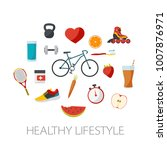 healthy lifestyle concept in... | Shutterstock .eps vector #1007876971