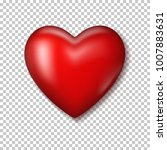 red realistic heart with shadow. | Shutterstock .eps vector #1007883631