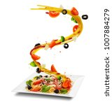 concept of flying food with... | Shutterstock . vector #1007884279
