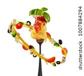 concept of flying food with... | Shutterstock . vector #1007884294