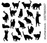 Stock vector set vector silhouettes of the cat different poses standing jumping and sitting black color 1007885047