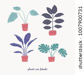 set of house plants in pots | Shutterstock .eps vector #1007900731