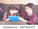 little boy protects his sister...   Shutterstock . vector #1007901475