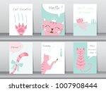 set of cute animals poster... | Shutterstock .eps vector #1007908444