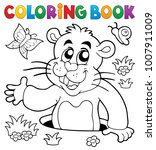 coloring book groundhog theme... | Shutterstock .eps vector #1007911009