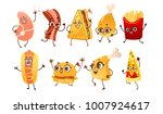 set of funny fast food... | Shutterstock .eps vector #1007924617