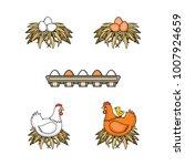 vector flat poultry farm...   Shutterstock .eps vector #1007924659