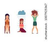 vector flat mental illness set. ...   Shutterstock .eps vector #1007925367