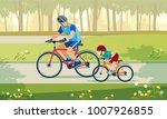 Happy family is riding bikes outdoors and smiling. Father on a bike and son on a balancebike in the park.  Vector illustration | Shutterstock vector #1007926855
