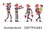 young male firefighter at work. ... | Shutterstock .eps vector #1007941681