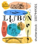 lisbon poster. watercolor... | Shutterstock .eps vector #1007949301