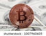 bitcoin coin on dollars. new...   Shutterstock . vector #1007960605