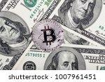 bitcoin coin on dollars. new...   Shutterstock . vector #1007961451