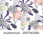 vector seamless floral pattern...   Shutterstock .eps vector #1007962081