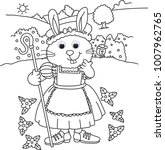dress up bunny colouring images ... | Shutterstock . vector #1007962765