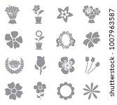 flowers icons. gray flat design....