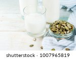 vegan alternative food  pumpkin ... | Shutterstock . vector #1007965819